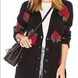 Sanctuary Black Cardigan Sweater w/ Roses